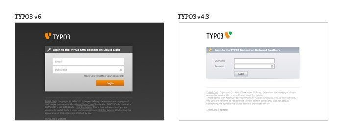 TYPO3 welcome screen