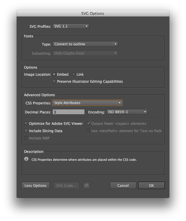 Adobe Illustrator SVG Settings
